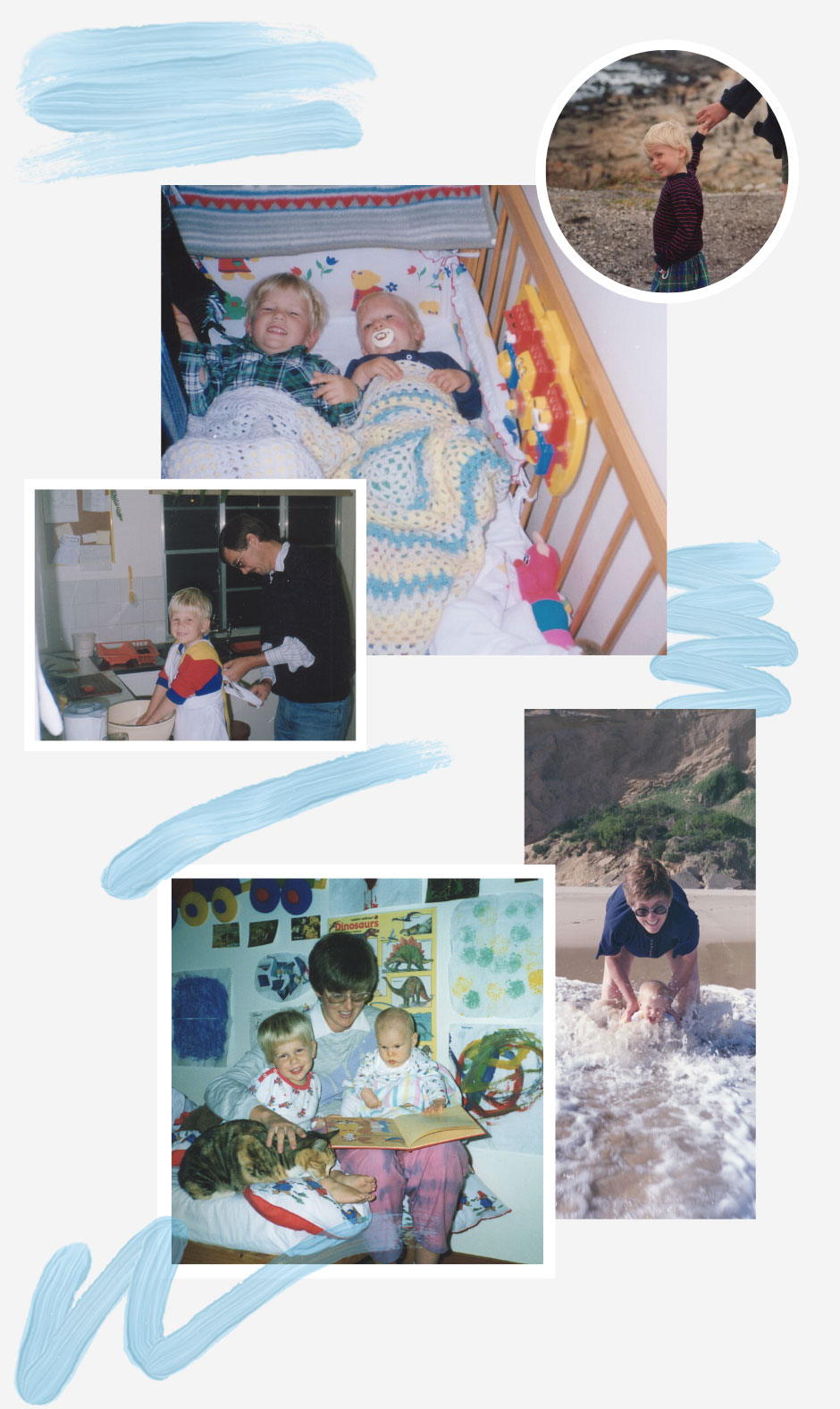 Photo montage of photographs from Darrell's family photo album.